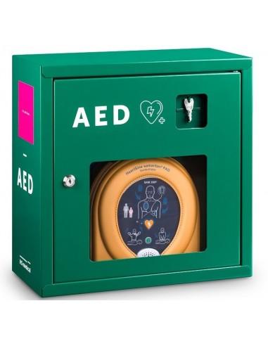Szafka metalowa zielona na defibrylator AED