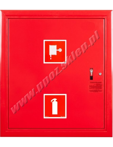 Hydrant wnękowy FI25 z msc. na gaśnicę - wersja wertykalna, lewy