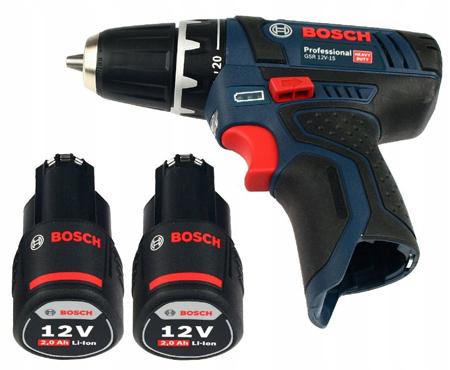 Wkrątarka akumulatorowa BOSCH GSR 12V-15  2x2,0Ah + 2 akumulatory Li-Ion 2,0Ah + walizka