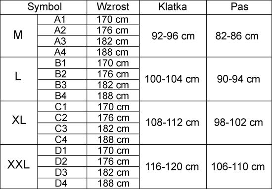 Tabela rozmiarów ubrania FHR