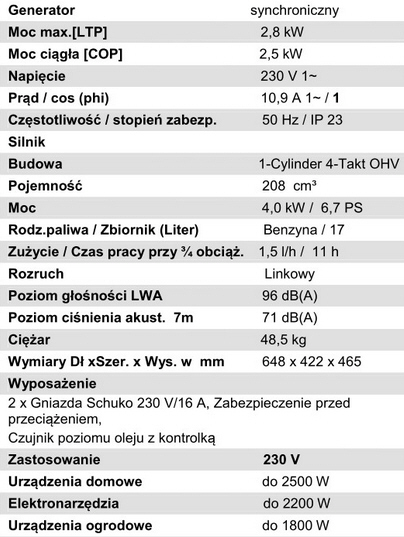 Agregat ENDRESS ESE 3200P jednofazowy