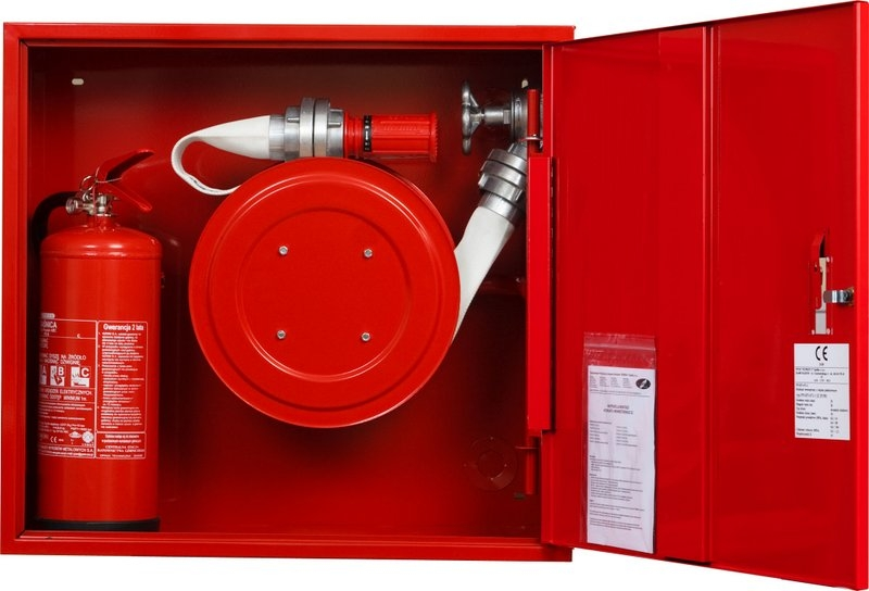 Hydrant zawieszany FI52 - wąż nawinięty na zwijadło z msc. na gaśnicę