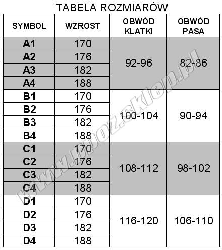 tabela rozmiarów ubrania specjalnego